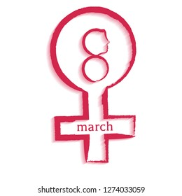 8 March celebration greeting card design with illustration of female hydrosexual sign.