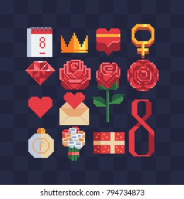 8 March celebration. Rose icon. Pixel art. Happy women day holiday banner layout. Greeting letter or postcard element with number eight symbol. Mother's Day. Logo for website. Valentine's day. Vector.