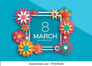 8 March. Colorful Happy Women s Day. Trendy Mother s Day. Paper cut Floral Greeting card. Origami flower. Text. Square ribbon frame. Spring blossom. Seasonal holiday on sky blue. Modern decoration.