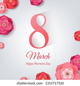 8 March Women's Day Card With Gradient Mesh, Vector Illustration