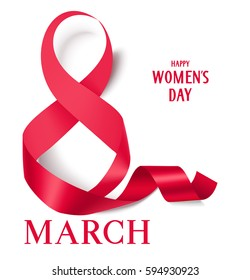 8 march decorative red ribbon. International Women's Day card. Vector ribbon isolated on white. Happy Women's Day text