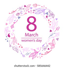 8 March Design with Flowers wreath. International Women's Day card. Vector illustration. Doodle style.