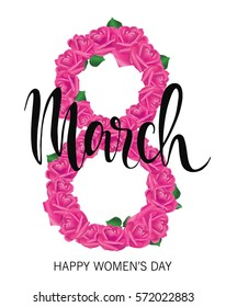 8 March Design with roses. International Womens Day Background