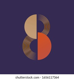 8 March Elegance Vintage Art deco Greeting Card or Logo. Number 8 Typography Logo. 8 March Modern Creative Design Concept. Vector Illustration.