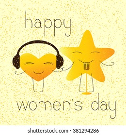 8 march greeting card with golden colored cartoon heart character in headphones and star character with retro microphone and lettering happy womens day in English on yellow background and golden dotes