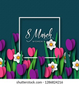 8 March greeting card for International Womens Day. Frame with paper cut tulips and narcissus on dark spotted background. Vector illustration.