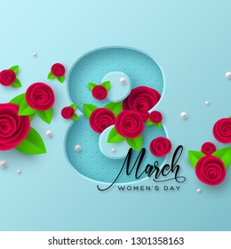 8 March greeting card for International Womens Day. 3d paper cut number 8 with roses and leaves, turquoise background. Vector illustration.