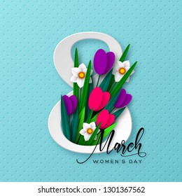 8 March greeting card for International Womens Day. 3d paper cut number 8 with bouquet of spring flowers tulip and narcissus, turquoise background. Vector illustration.