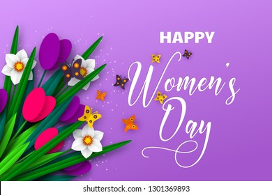 8 March greeting card for International Womens Day. 3d paper cut bouquet of spring flowers tulip and narcissus with butterfly, purple background. Vector illustration.