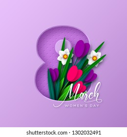 8 March greeting card for International Womens Day. 3d paper cut number 8 with bouquet of spring flowers tulip and narcissus, purple background. Vector illustration.