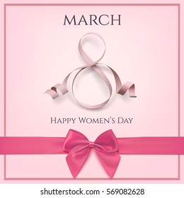 8 March greeting card template with pink bow. International Women's day background or brochure. Vector illustration.