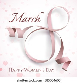 8 March greeting card template. International Women's day background, poster or brochure. Vector illustration.