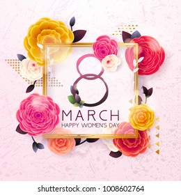 8 March Happy International Women`s Day background. Floral Greeting card, Paper cut flowers and leaves, holiday pattern, trendy Frame. Paper art Design, drawn vector Template, Banner, decor.