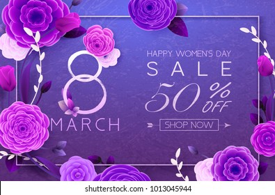 8 March Happy International Women`s Day, trendy Ultra Violet background. Floral Greeting card, Paper cut flowers and leaves, holiday pattern. Paper art Design, drawn vector Template, Banner, decor.