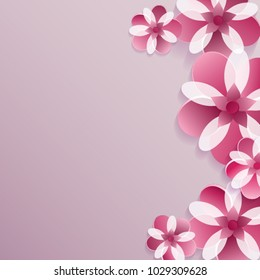 8 March. Happy Mother's Day. Purple Floral Greeting background. Happy Women's Day. Trendy Design Template. Vector illustration