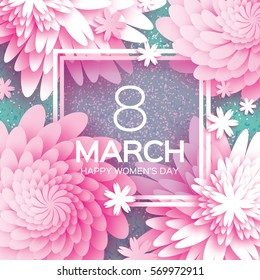 8 March. Happy Mother's Day. Pink Paper cut Floral Greeting card. Origami flower holiday background. Square Frame, space for text. Happy Women's Day. Trendy Design Template. Vector illustration