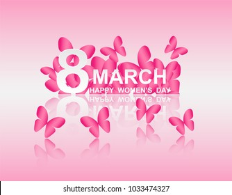 8 march. Happy Woman's Day. Card design with paper art pink butterflies, pink background .Vector
