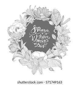8 march. Happy Woman's Day! Vector congratulation card with linear floral wreath