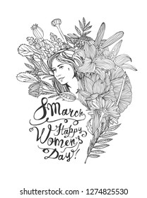 8 march. Happy Women Day. Girl in flowers. Vector linear illustration