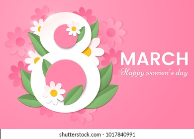 8 March. Happy Women's day greeting card with decor of paper cut spring flowers and leafs. Number 8 in the style of cut paper. Applicable for web banner, flyer, cards and invitation.