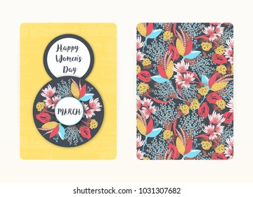 8 march. Happy Women's Day. Spring holiday. Card design with floral pattern. Creative hand drawn colorful abstract flowers. Design of postcard, poster, invitation. Size A4. Vector illustration, eps10