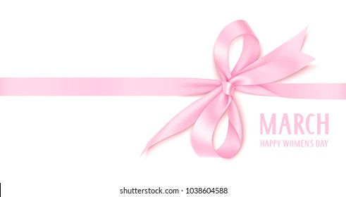 8 March. Happy Women's Day text. International womens day design template. Number eight with pink bow and horizontal ribbon isolated on white background. Vector illustration
