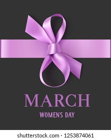 8 March. Happy Womens Day. Decorative purple bow with horizontal ribbon on dark background. Vector illustration