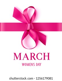 8 March. Happy Womens Day. Decorative pink bow with horizontal ribbon on white background. Vector illustration