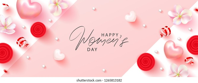 8 March Happy Womens Day banner. Beautiful Background with flowers, serpentine,hearts and gift boxes. Vector illustration for postcards,posters, coupons, promotional material.