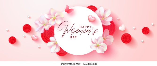 8 March Happy Womens Day banner. Beautiful Background with flowers, hearts,butterfly and gift boxes. Vector illustration for postcards,posters, coupons, promotional material.