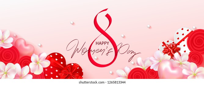 8 March Happy Womens Day banner. Beautiful Background with flowers, hearts and gift boxes. Vector illustration for postcards,posters, coupons, promotional material.