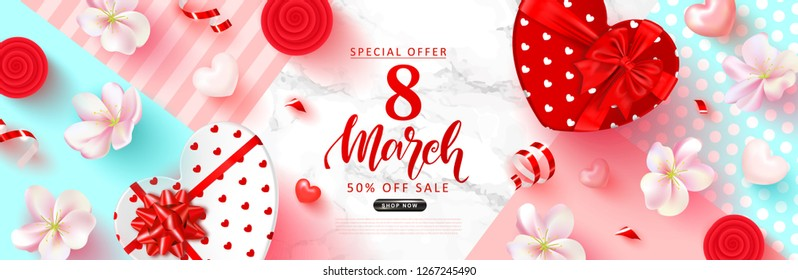 8 March Happy Womens Day Sale banner. Beautiful Background with flowers, hearts,serpentine and gift boxes. Vector illustration for postcards,posters, coupons, promotional material.
