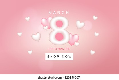 8 March Happy Womens Day Sale Vector Banner in Pink Background. Design elements of big number 8, small white and pink hearts. Text of march, up to 50% off, and shop now button.