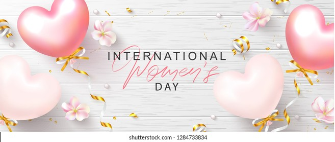 8 March Happy Women's Day banner. Beautiful Background with flowers,serpentine and balloons on wooden texture. Vector illustration for postcards,posters, coupons, promotional material.