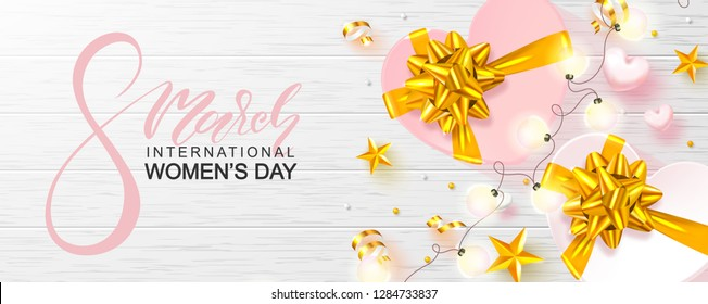 8 March Happy Women's Day banner. Beautiful Background with gift boxes,hearts, stars, garland,beads and serpentine. Vector illustration for website , posters,ads, coupons, promotional material.