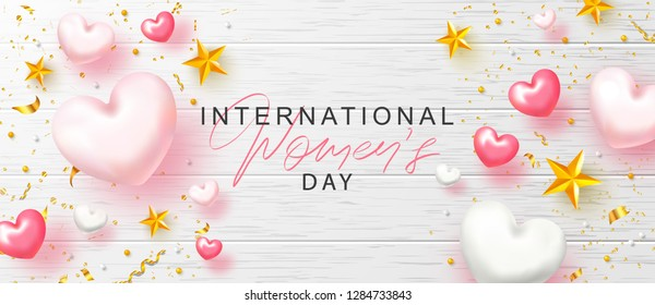 8 March Happy Women's Day banner. Beautiful Background with hearts, stars, beads and serpentine. Vector illustration for website , posters,ads, coupons, promotional material.