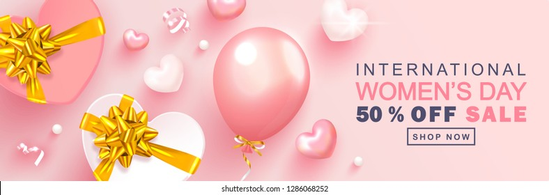 8 March Happy Women's Day sale banner. Beautiful Background with gift boxes,hearts, balloons,beads and serpentine. Vector illustration for website , posters,ads, coupons, promotional material.