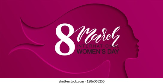 8 March Happy Women's Day banner. Beautiful Background with female silhouette .Vector illustration for website,cards, posters,ads, coupons, promotional material.