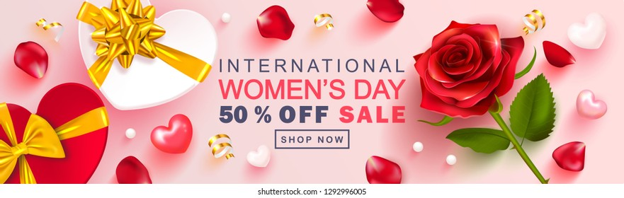 8 March Happy Women's Day banner. Beautiful Background with rose, petals, gift boxes, hearts and Golden serpentine. Vector illustration for postcards,posters, coupons, promotional material
