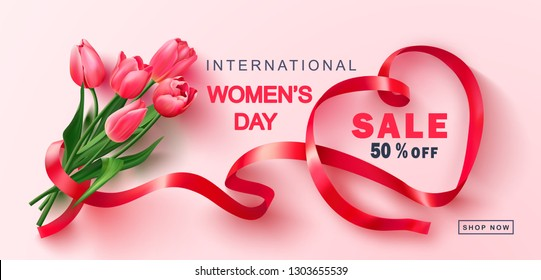 8 March Happy Women's Day sale banner.Beautiful Background with tulips and ribbon. Vector illustration for postcards,posters, coupons, promotional material.