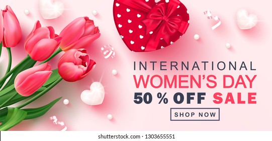 8 March Happy Women's Day sale banner. Beautiful Background with tulips,hearts, serpentine, beads and gift box. Vector illustration for postcards,posters, coupons, promotional material.