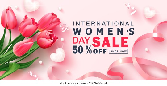 8 March Happy Women's Day sale banner. Beautiful Background with tulips,hearts, serpentine, beads and ribbon. Vector illustration for postcards,posters, coupons, promotional material.