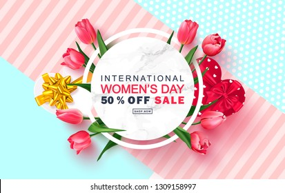 8 March Happy Women's Day sale banner. Beautiful Background with tulips and gift boxes. Vector illustration for postcards,posters, coupons, promotional material