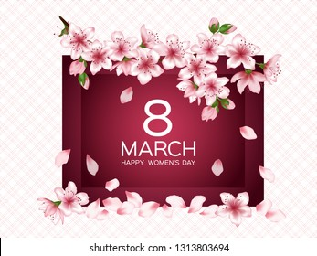 8 March Happy Women's Day vector card. Japanese cherry blossom pink sakura flowers frame. Delicate greeting card with sakura branch tree flowers bloom. March 8th international womens day design.