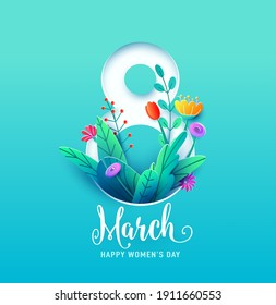8 march, happy womens day greeting card vector illustration in 3d paper cut style. Number eight with spring flowers and leaves on blue background.