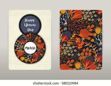 8 March. Happy Women's Day. Spring holiday. Card design with floral pattern. Hand drawn creative flowers. Colorful artistic background with blossom. Size A4. Vector illustration, eps10