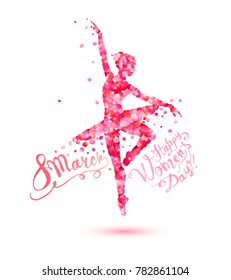 8 march. Happy Women's Day! Silhouette of a dancing woman of pink rose petals