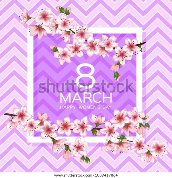 8 March Happy Women's Day vector card. Japanese cherry blossom pink sakura flowers border. Elegant greeting card with sakura branch tree flowers bloom. March 8th international womens day design.