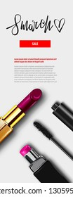 8 march happy womens fashion day. Minimalistic make up top view background. 3d lipstic, mascara. Vector holiday mock up. Vertical sale banner.