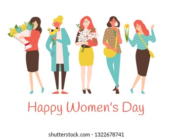 8 March holiday, vector smiling caucasian mothers with blossoms, lovely girls. Happy womens day greeting card with cartoon ladies holding flower bouquets.
